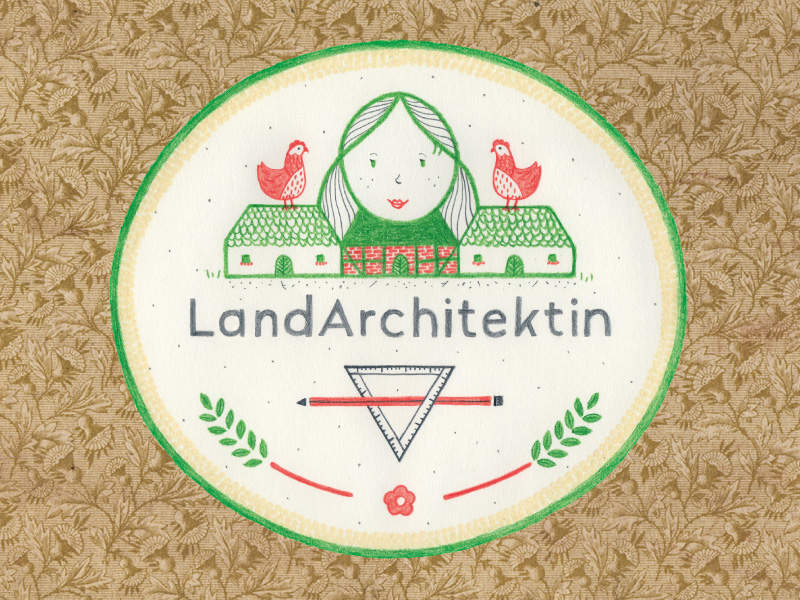 Logo LandArchitektin: handgezeichnete Wappen-Version,